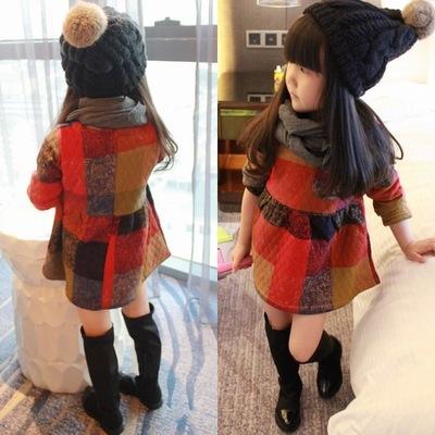 2015-новый-малыша-девушка-одежда-зима-детские-платья-американский-и-европейский-стиль-плед-с-длинным-рукавом
