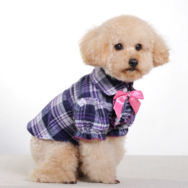 New-2013-Small-Middle-font-b-Dog-b-font-Clothes-Purple-Grid-Butterfly-Bow-Pet-Clothes
